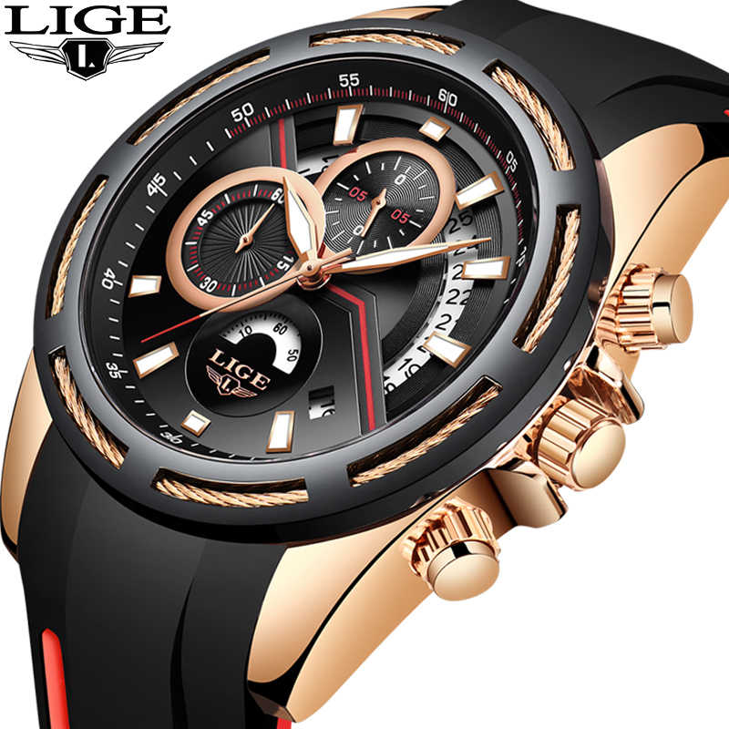 Relogio Masculino 2019 LIGE Mens Watches Silicone Strap Top Brand Luxury Waterproof Sport Chronograph Gold Quartz Wristwatch+Box