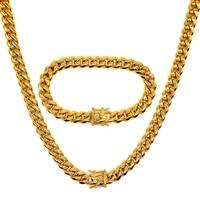 AMUMIU Hip hop Full Bling CZ Cubic Zirconia Jewelry Sets Cuban Chain Link Necklaces Bracelets Box Clasp Miami Cubra HZTZ183