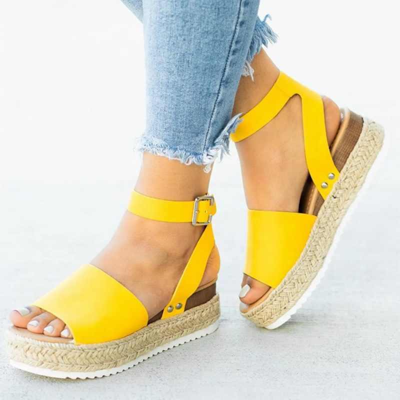 Zapatos de cuña LASPERAL para mujer, sandalias de talla grande, tacones altos, zapatos de verano, zapatos de leopardo, Chaussures Femme, sandalias de plataforma 2020