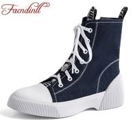 FACNDINLL fashion ankle boots for women platform shoes punk gothic style rubber sole lace up black blue autumn winter warm boots