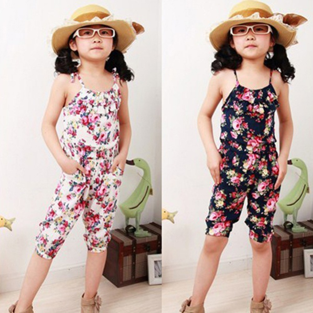 Kids Baby Girls Clothes Floral Hammock Sleeveless Jumpsuit Trousers Romper Outfits Summer Clothes for Little Girls girl