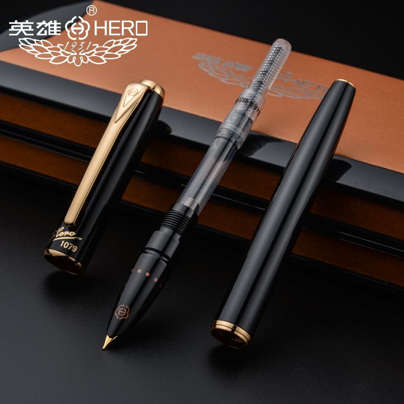 Image 4 - Hero fountain pens authentic 1079 ultrafine pen 0.38mm students Office business gift box black pink yellow blue  FREE shipping-in Fountain Pens from Office & School Supplies