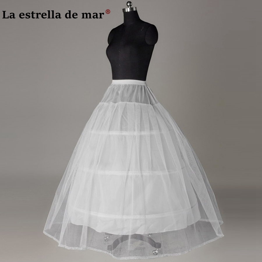 La estrella de marjupon2018 new white 3 Hoops1 layer tulle petticoat long bargain jupon mariage Stock underskirt fast shipping