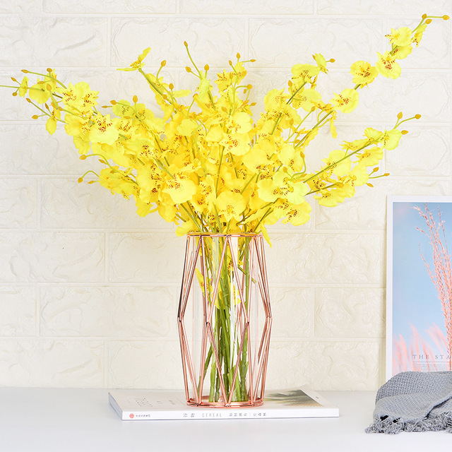 Modern Fashion Champagne Gold Hydroponic Flower Pot Vase Nordic Iron Rose Gold Vase Study Hallway Roon Home Wedding Decoration 2