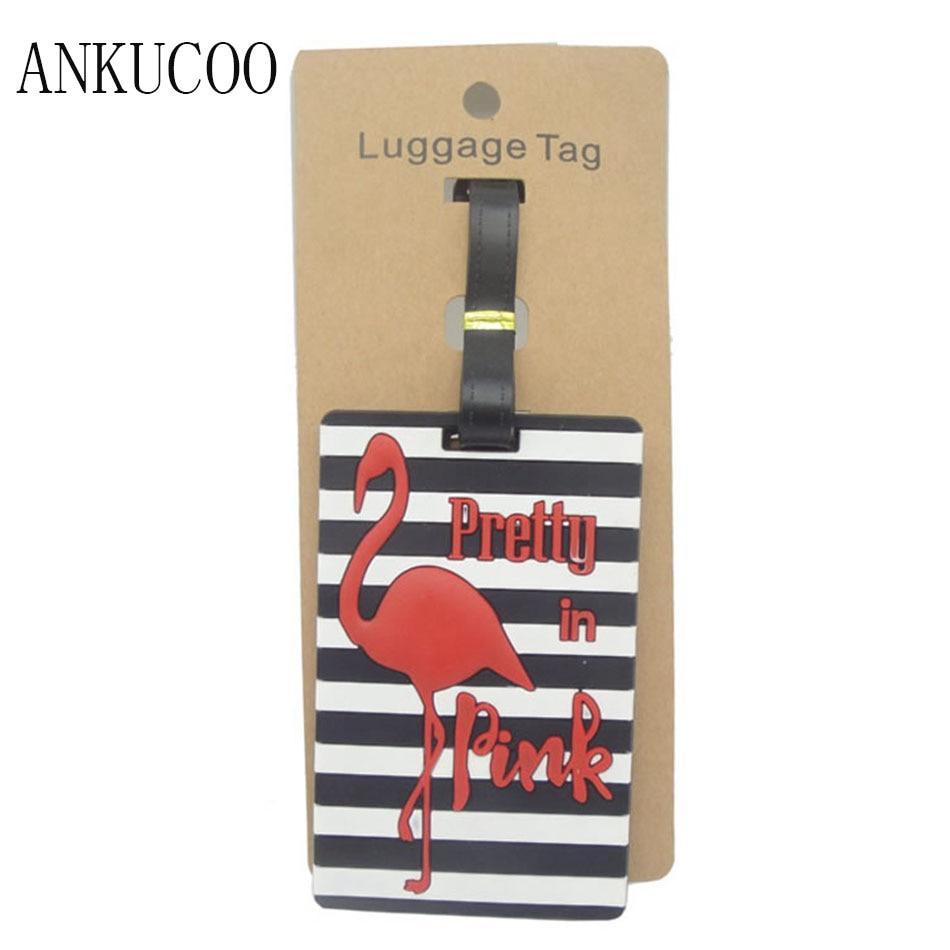 Фламинго Чемодан тег Туристические товары творческий силикагель чемодан держатель id адрес багажа чашку теги Портативный label