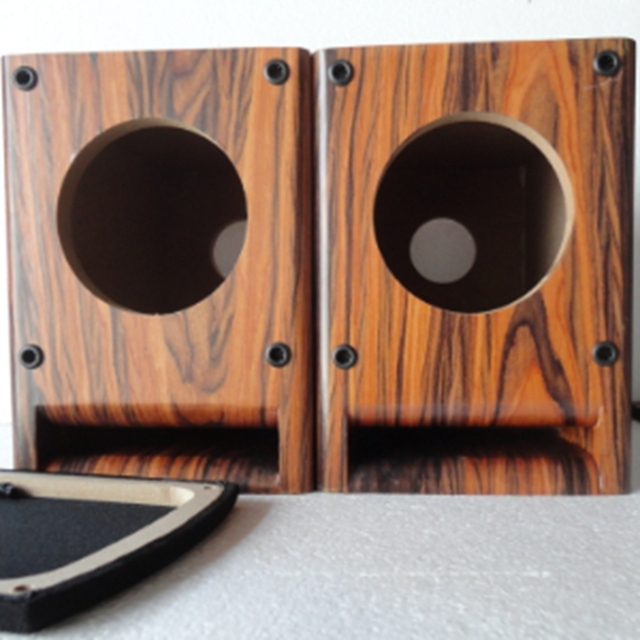 Iwistao Hifi 4 Inch Full Range Speaker Empty Cabinet Wooden Box Front Labyrinth Guide Hole 15mm