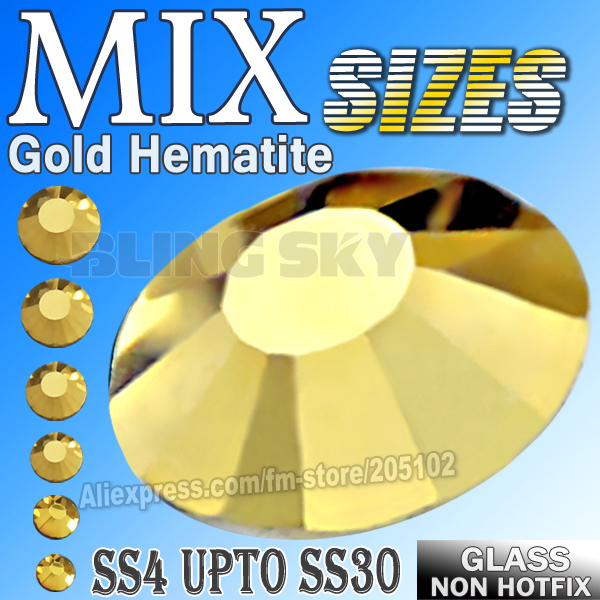 Mix Sites SS3-SS30 Gold Aurum strasszok a köröm művészethez csillognak A nem Hot Fix kristályok strassok ragasztására a körmök köré