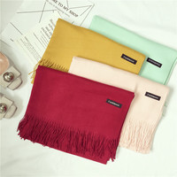 Solid Color Faux Tassel Scarf Fashion All Match Classic Fashion Candy Color Winter Cashmere Scarves