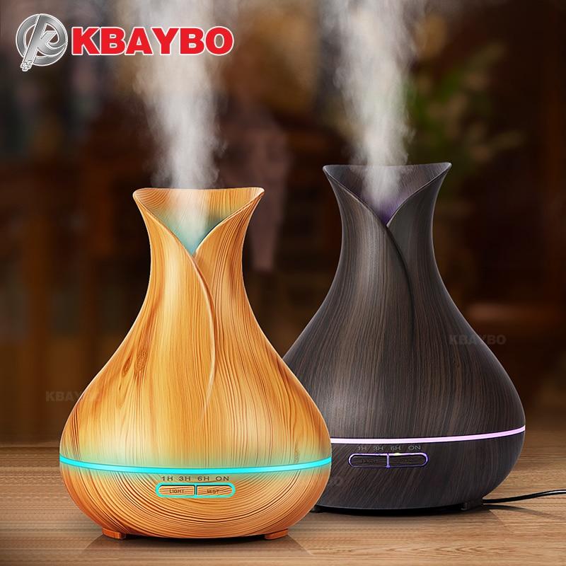 Aroma Aceites difusor humidificador ultrasónico con grano de madera 7 color cambiante llevó luces para el hogar de la Oficina 400 ml