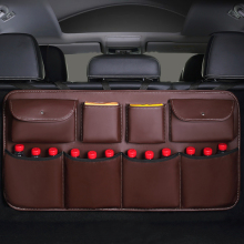High quality leather Car Rear Seat Back Storage Bag Multi use Car Trunk Organizer Auto Stowing