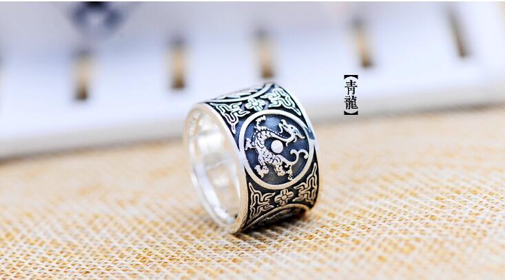 100% s999 bague en argent Sterling chinois Paramita coeur Sutra anneaux sculpté Sakyamuni bouddha taille costume: 53mm-71mm,