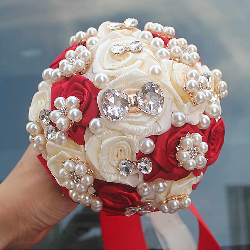 15cm Different color different styles of handmade flower decoration bride wedding bride holding flowers with diamond pearls