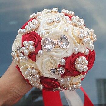 15 cm Verschillende kleur verschillende stijlen van handgemaakte bloem decoratie bruid bruiloft bruid bedrijf bloemen met diamant parels