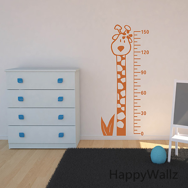 Giraffe Growth Chart Kids Height Measure Nursery Wall Decals Plastic Baby Sticker For