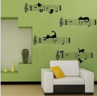 Liner Notes Cartoon Music Classroom Bedroom Wall Living Room Background Stickers Decorative StickersChina