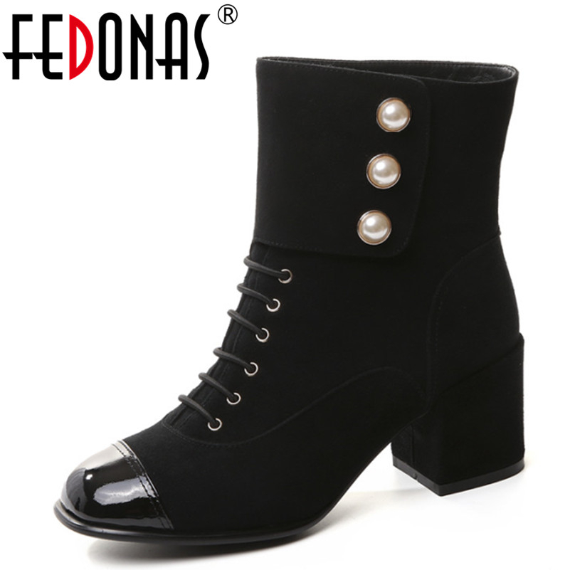 FEDONAS 2017 Elegant Sheep Suede Mid-Calf Boots Fashion Square Heel Boots Women Genuine Leather Shoes Woman Brand Martin Boots prova perfetto black handmade women genuine leather mid calf boots buckle straps martin boots women platform rubber shoes woman