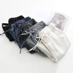 Image 3 - 2020 אביב קיץ כותנה פשתן הרמון מכנסיים נשים שרוך גבוהה מותניים מכנסיים נשים מכנסי קזואל טרנינג Pantalon C4216