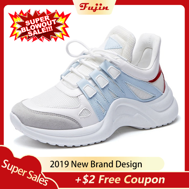 Fujin Sneakers Women 2019 Breathable Mesh Casual Shoes Female Fashion Sneaker Lace Up High Leisure Women Vulcanize Shoe Platform