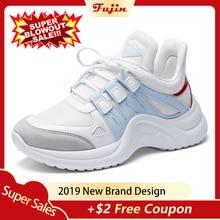 Fujin Sneakers Women 2019 Breathable Mesh Casual Shoes Female Fashion Sneaker Lace Up High Leisure Women Vulcanize Shoe Platform