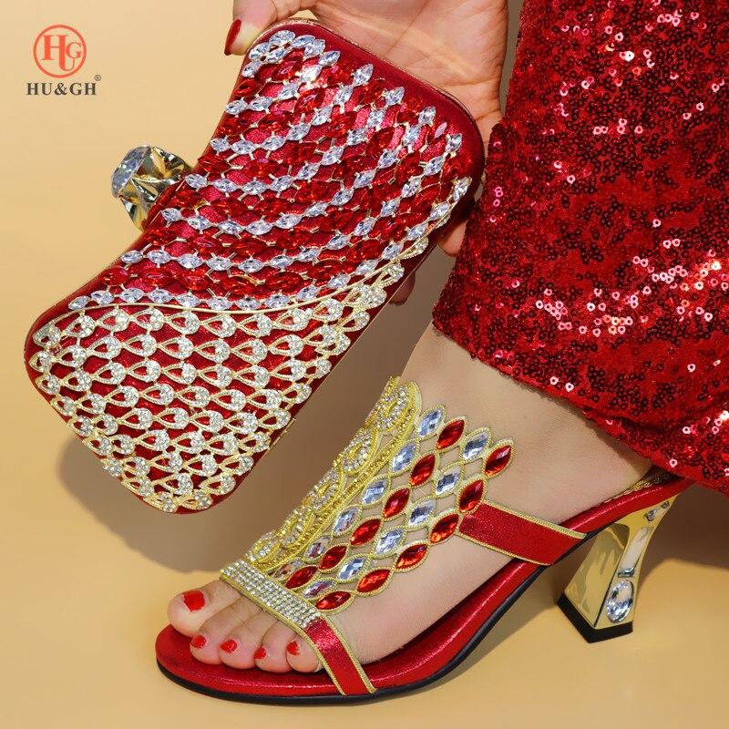 Royal Blue Kleur Schoen en Tas Set Nieuwe 2018 Vrouwen Schoenen en Tas Set Afrikaanse Bruiloft Sandalen Italiaanse Schoenen met bijpassende Tassen Set - 3