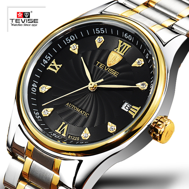TEVISE Male Clock Brand Personality Mens Watch Waterproof Fashion Automatic Watches Date Hollow Mechanical Wristwatches t winner automatic watch mens trendy mechanical auto windding silicone band wristwatches modern elegant analog hollow clock gift
