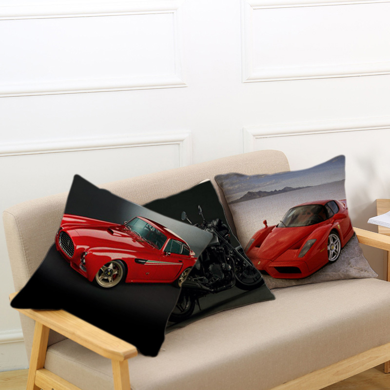 European creative retro style car printing cotton linen decorate waist pillow home sofa Hotel bedroom Bed office cushion 45*45cm