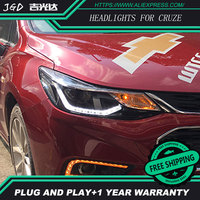 Car Styling Head Lamp For Chevrolet Cruze Headlights 2017 LED Headlight Double U Led Drl H7