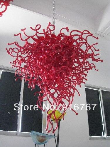 LR065 - Free Shipping Fine Art Red Glass Chandelier Lighting Lamp