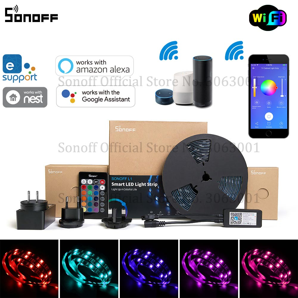 SONOFF L1 Smart LED Light Strip Dimmable Waterproof WiFi Flexible RGB Strip Lights Work With Alexa Google Home, Dance With Music