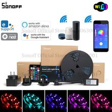 Sonoff L1スマートledライトストリップ調光可能な防水wifi柔軟なrgbストリップライトalexa googleホームで動作、ダンスと音楽