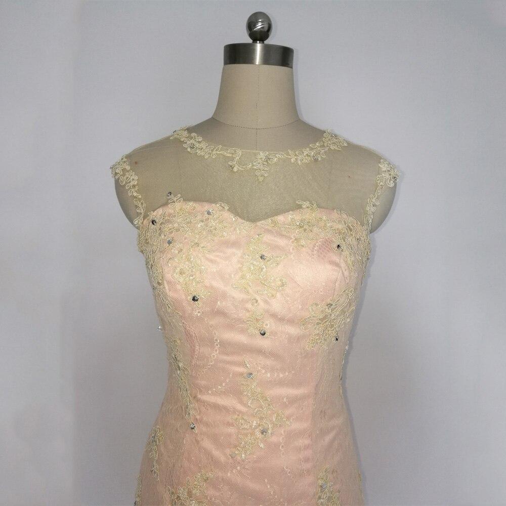 E JUE SHUNG Designer Champagne Lace Schede Kapmouwtjes Knie lengte Kralen Moeder van de bruid Jurken Korte Avondjurken - 2