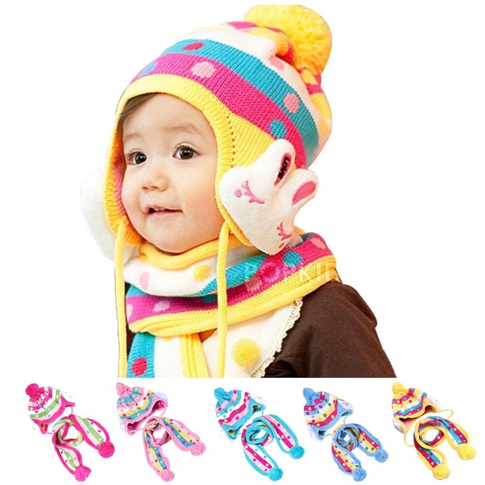 New Baby Boys Girls Infant Toddler Cute Soft Crochet Hat Beanie Warm Hat Head Cap Scarf Sets Newborn Cap great