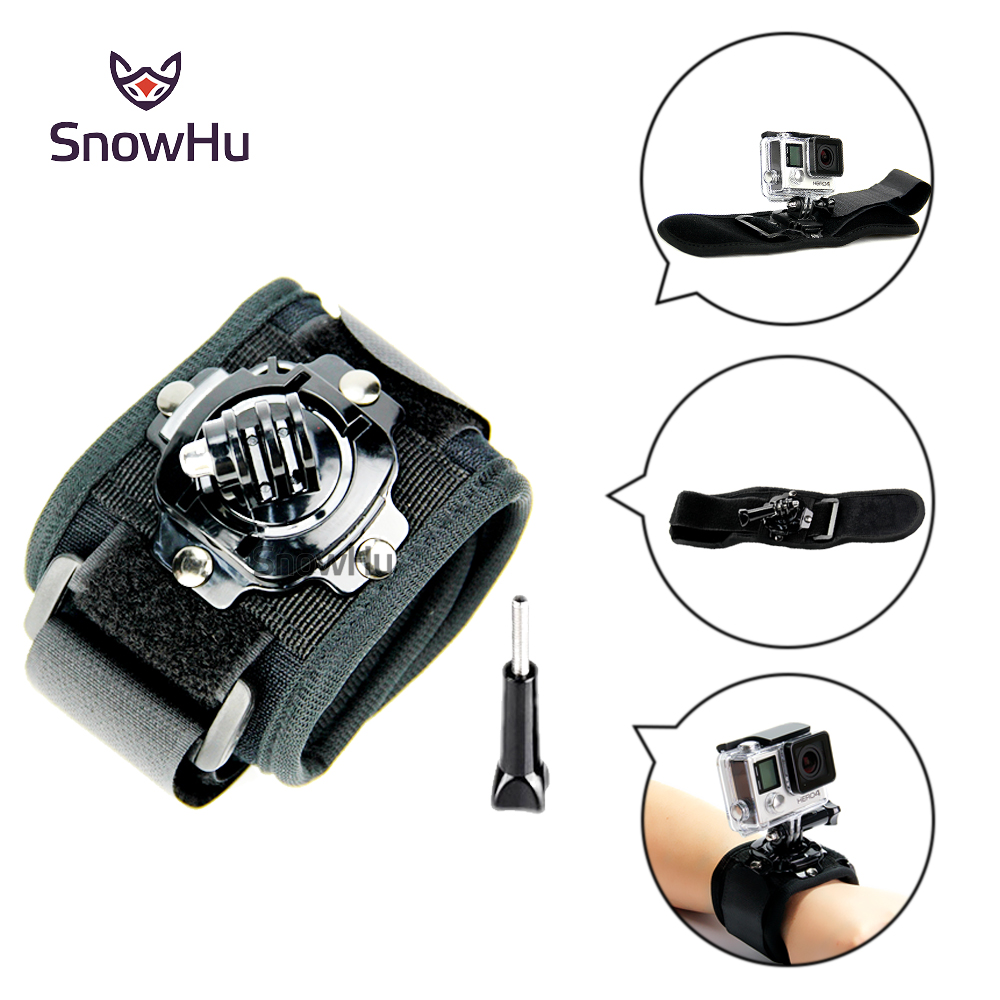 SnowHu For Gopro 360 Degrees Wrist Mount Band Strap And Screw For GO PRO Hero 6 5 4 3 2 For SJ4000 Action Camera GP128 neopine hs 3gery nylon wrist band strap for digital cameras gopro hero black grey 27cm