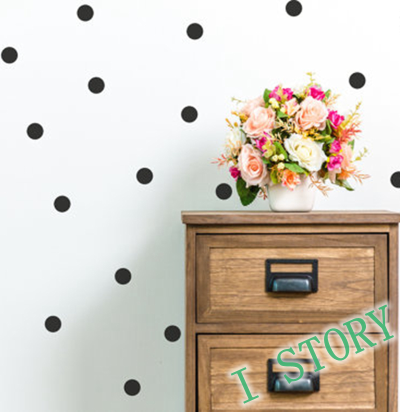 Polka dot wall sticker gold wall decal peel and stick for Interieur stickers