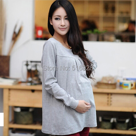 Autumn Winter Pregnant Maternity Tops Cotton Pregnancy Basic T Shirt Maternidade Clothing Long Sleeve Clothes For