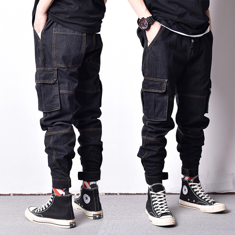 Japanese Style Vintage Design Men Jeans Original Color Spliced Fashion Loose Fit Big Pocket Cargo Pants Hip Hop Jogger Jeans Men