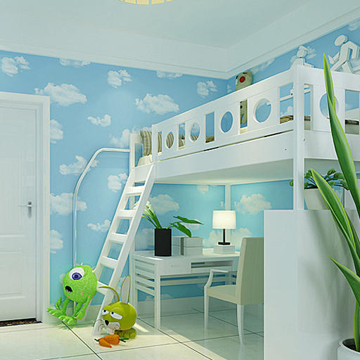 Free Shipping High Quality Home Decoration Blue Sky And White Clouds  Wallpaper For Baby Room Boys