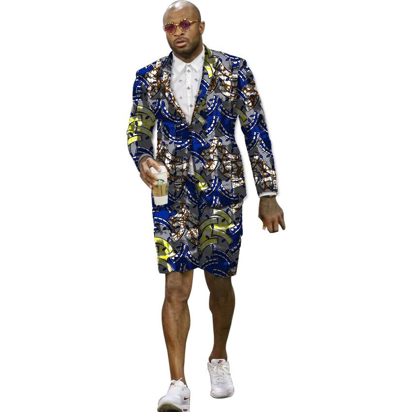 African print suits men blazer with short 2 pieces set fashion pattern men's dashiki suits casual garment party/wedding