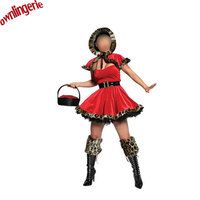 Ladies Sexy Santa Costume Women Hooded Christmas Party Fancy Dress Cosplay Little Red Hood Suit With Petticoat Free Shipping