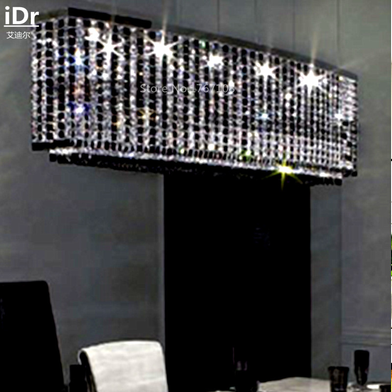 LED circular minimalist living room chandelier Luxury lamp crystal lamp bedroom den creative lighting engineering lamp black