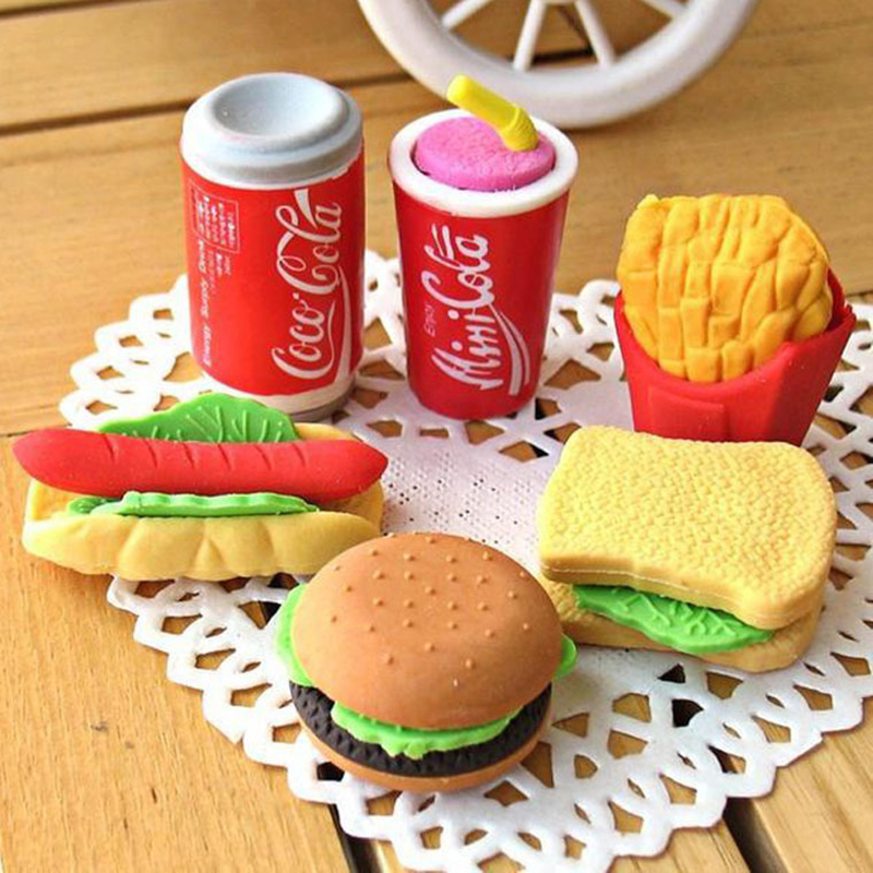 Fries Hamburger Rubber Food Style 5Pcs Clean Lovely Fastfoodshapederaser Hamburgersfastfood Kidsstationery Sandwich Toy