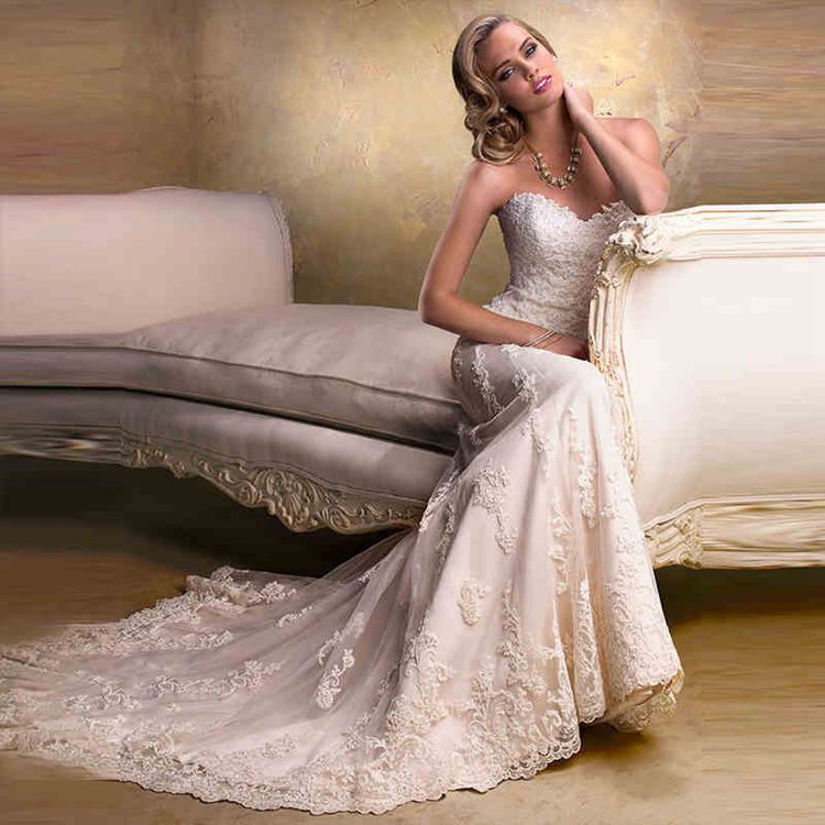 romantic lace wedding dresses 2017 sweetheart appliques lace slim ...