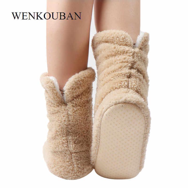 Fell Rutschen Frauen Plüsch Hausschuhe Warme Korallen Fleece Innen Boden Schuhe Winter Pelzigen Rutschen Damen Socke Schuhe Pantuflas Mujer 2019