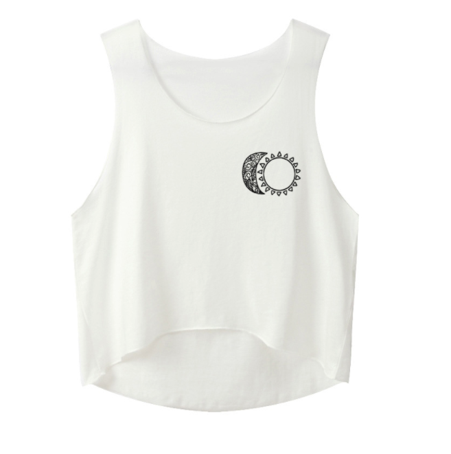 Moon Sun Printed Summer Tank Tops Women Sexy Cropped Tops Graphic Tees