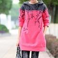 New plus size 5XL mulher camisola da moda tops estilo outono outerwear pullover com capuz casacos quentes velo camisola vestido ocasional