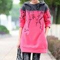 Nuevo tamaño más 5XL mujer sudaderas moda tops estilo de otoño prendas de vestir exteriores del suéter con capucha abrigos de lana sudadera casual de vestir