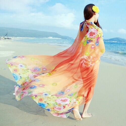 Women Elegant Floral Silky Chiffon Big Shawl Scarf Beach Cover Up Dress Sarong