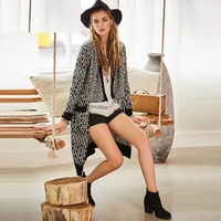 Sisjuly Autumn Women Long Knitwear Coat Asymmetric Patchwork Straight Pocket Cardigan High Quality Bohemia New Ladies