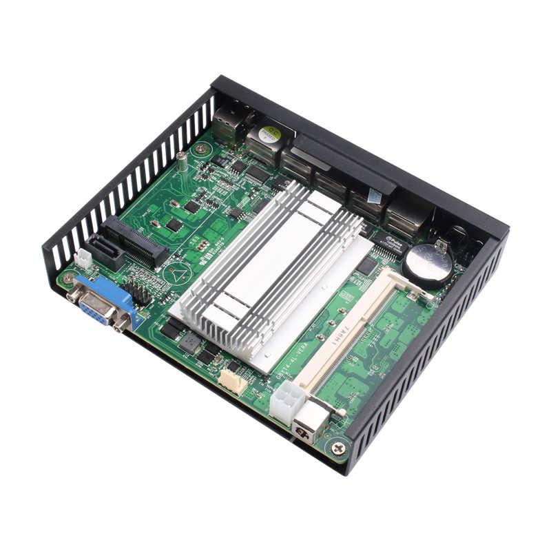 Mini PC 4-Gigabit Ethernet LAN Celeron J1900 Pfsense Ubuntu Windows 10 Firewall Router 4 * RJ45 VGA Klien Tipis Mini komputer
