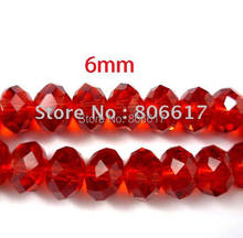 Best Quality 200 Pcs Red Cut&Faceted Glass Spacer Beads Findings Jewelry Making 6x4mm (W00347)(China)